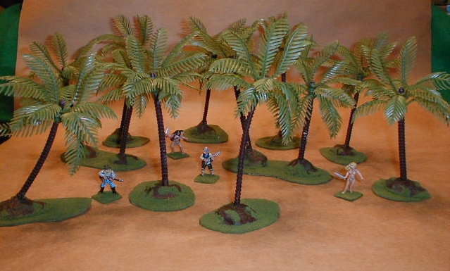 6 inch plastic palm trees with 28mm figures