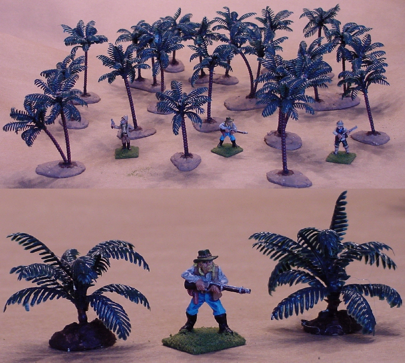 3 inch plastic palm trees with 28mm figures